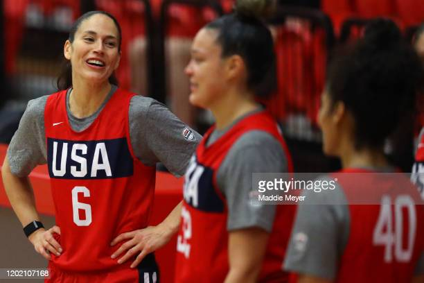 Sue Bird laughs with teammates during a United States practice session at Chase Arena on January 26 2020 in West Hartford Connecticut