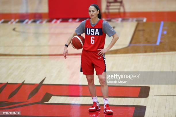 Sue Bird looks on during a United States practice session at Chase Arena on January 26 2020 in West Hartford Connecticut