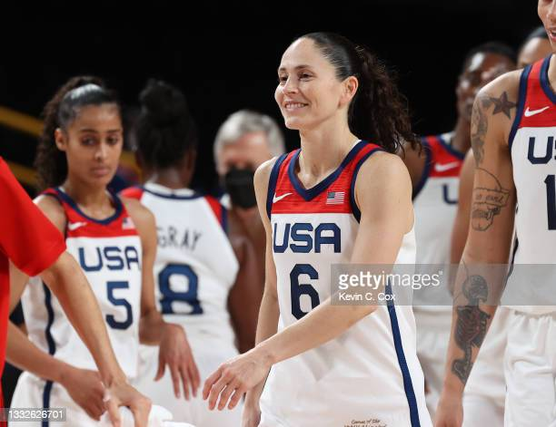 Sue Bird of Team United States celebrates the United States' win over Serbia in a Women's Basketball Semifinals game on day fourteen of the Tokyo...