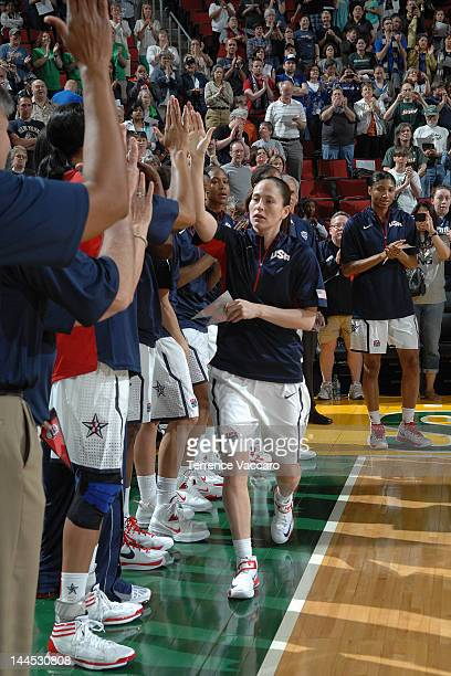 Sue Bird of the 2012 USA Basketball Women's National Team gets introduced before the game against the 2012 China Women's National Team during the...