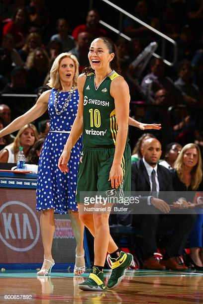 Sue Bird of the Seattle Storm and Head Coach Jenny Boucek react to a play against the New York Liberty on September 7 2016 at Madison Square Garden...