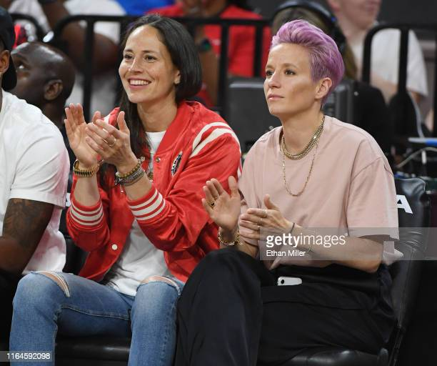 Sue Bird of the Seattle Storm and soccer player Megan Rapinoe attend the WNBA All-Star Game 2019 at the Mandalay Bay Events Center on July 27, 2019...