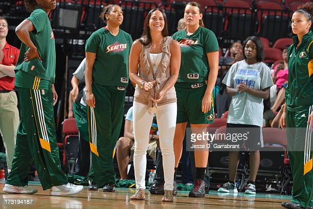 Sue Bird of the Seattle Storm applauds during the game against the New York Liberty on July 9 2013 at Prudential Center in Newark New Jersey NOTE TO...