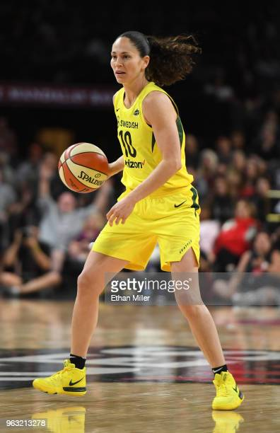 Sue Bird of the Seattle Storm brings the ball up the court against the Las Vegas Aces during the Aces' inaugural regularseason home opener at the...