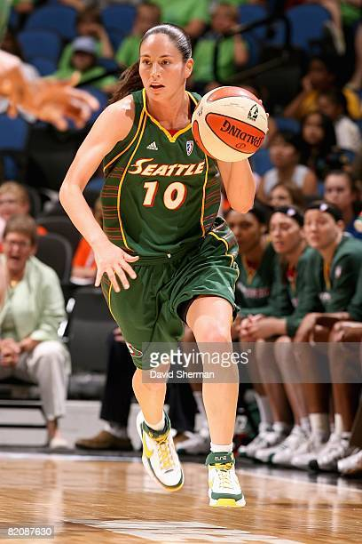 Sue Bird of the Seattle Storm brings the ball upcourt during the WNBA game against the Minnesota Lynx on July 22 2008 at Target Center in Minneapolis...