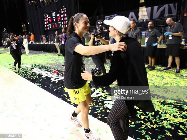 Sue Bird of the Seattle Storm celebrates with Megan Rapinoe after winning the 2020 WNBA Championship in Game Three of the WNBA Finals against the Las...