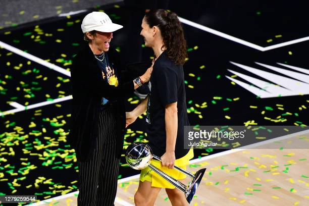 Sue Bird of the Seattle Storm celebrates with Megan Rapinoe after winning the WNBA Championship following Game 3 of the WNBA Finals against the Las...