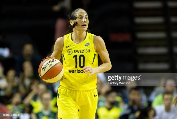 Sue Bird of the Seattle Storm controls the ball as she pushes forward during the first half of Game 2 of the WNBA Finals at KeyArena on September 9...