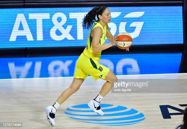Sue Bird of the Seattle Storm dribbles during the second half against the Minnesota Lynx in Game One of their Third Round playoff at Feld...