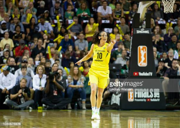 Sue Bird of the Seattle Storm gestures during the first half of Game 2 of the WNBA Finals against the Washington Mystics at KeyArena on September 9...