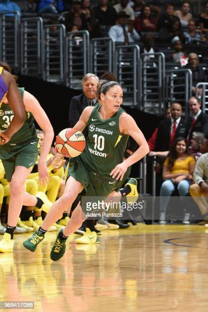 Sue Bird of the Seattle Storm handles the ball against the Los Angeles Sparks on June 7 2018 at STAPLES Center in Los Angeles California NOTE TO USER...