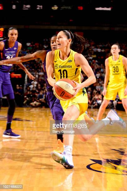 Sue Bird of the Seattle Storm handles the ball against the Phoenix Mercury during Game Four of the 2018 WNBA Semifinals on September 02 2018 at...