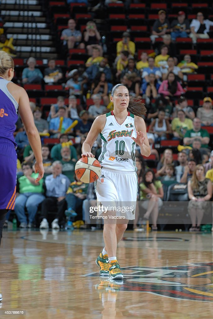 Sue Bird #10 of the Seattle Storm handles the ball against the Phoenix Mercury during the game on August 17, 2014 at Key Arena in Seattle, Washington.