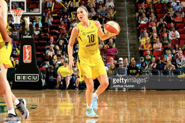 Sue Bird of the Seattle Storm handles the ball during the game against the New York Liberty on August 17 2018 at Key Arena in Seattle Washington NOTE...