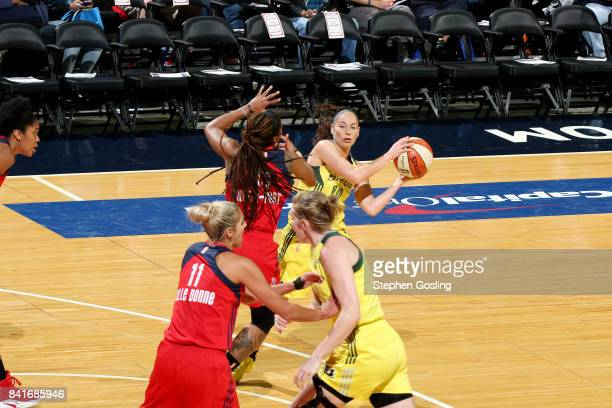 Sue Bird of the Seattle Storm handles the ball during the game against the Washington Mystics during a WNBA game on September 1 2017 at the Verizon...