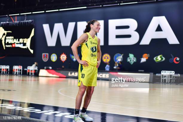 Sue Bird of the Seattle Storm is interviewed after a 104-91 win over the Las Vegas Aces following Game Two of the WNBA Finals at Feld Entertainment...