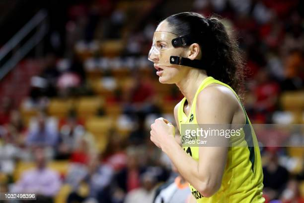 Sue Bird of the Seattle Storm looks on against the Washington Mystics during game three of the WNBA Finals at EagleBank Arena on September 12 2018 in...