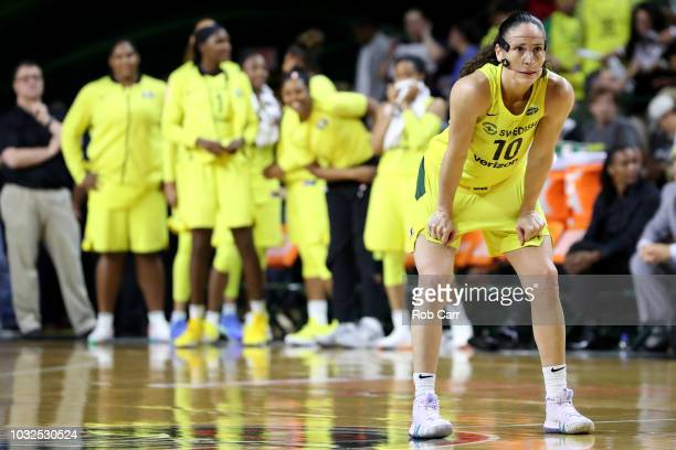 Sue Bird of the Seattle Storm looks on against the Washington Mystics in the second half during game three of the WNBA Finals at EagleBank Arena on...