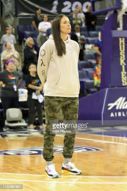 Sue Bird of the Seattle Storm looks on before the game against the Chicago Sky on June 28 2019 at the Alaska Airlines Arena in Seattle Washington...
