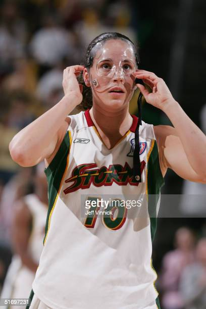 Sue Bird of the Seattle Storm looks on during Game 2 of the WNBA Finals against the Connecticut Sun on October 10, 2004 at the Key Arena in Seattle,...