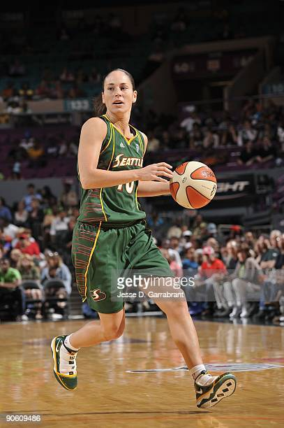 Sue Bird of the Seattle Storm moves the ball against the New York Liberty during the game on September 1 2009 at Madison Square Garden in New York...