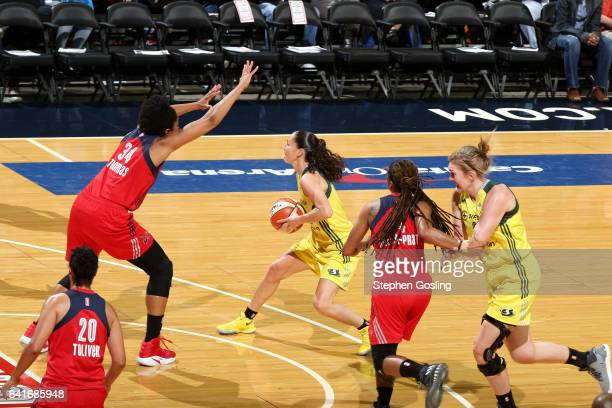 Sue Bird of the Seattle Storm passes the ball during the game against the Washington Mystics during a WNBA game on September 1 2017 at the Verizon...
