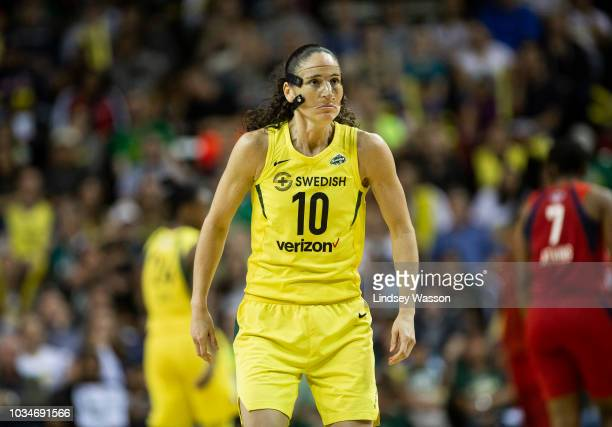 Sue Bird of the Seattle Storm prepares to defend as the Mystics start another offensive during the first half of Game 2 of the WNBA Finals at...