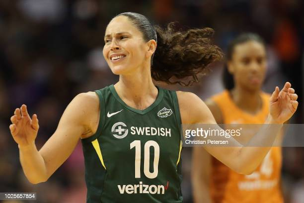 Sue Bird of the Seattle Storm reacts during game three of the WNBA Western Conference Finals against the Phoenix Mercury at Talking Stick Resort...