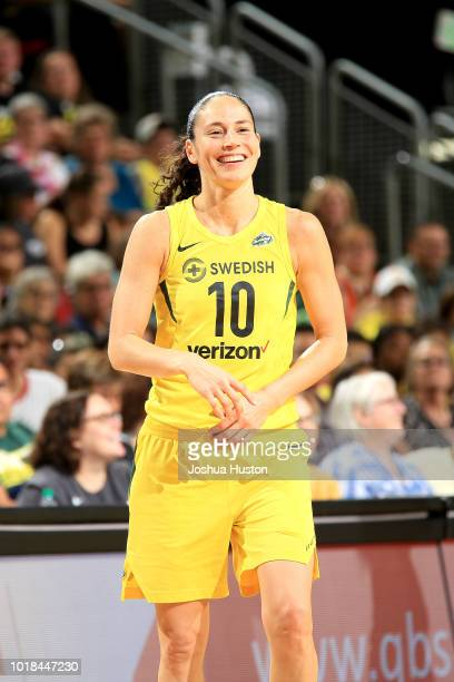 Sue Bird of the Seattle Storm reacts during the game against the New York Liberty on August 17 2018 at Key Arena in Seattle Washington NOTE TO USER...