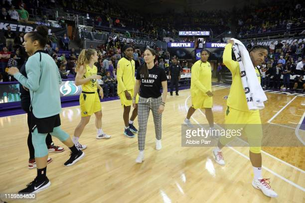 Sue Bird of the Seattle Storm reacts with teammates after falling to the New York Liberty 84-83 during their game at Alaska Airlines Arena on July...