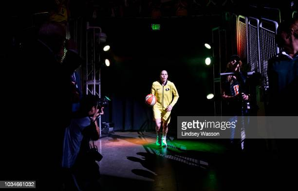Sue Bird of the Seattle Storm runs out during player introductions before Game 2 of the WNBA Finals against the Washington Mystics at KeyArena on...