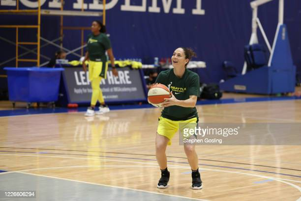 Sue Bird of the Seattle Storm shoots a free throw during practice on July 12, 2020 at IMG Academy in Bradenton, Florida. NOTE TO USER: User expressly...