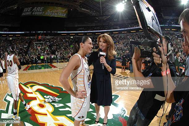 Sue Bird of the Seattle Storm speaks to Heather Cox of ESPN after defeating the Atlanta Dream in Game One of the 2010 WNBA Finals on September 12...