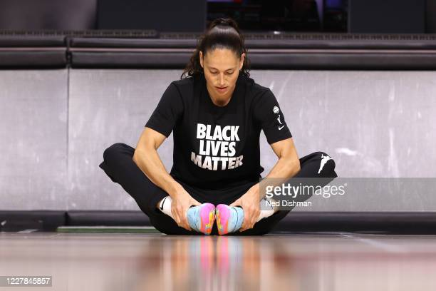 Sue Bird of the Seattle Storm stretches before the game on July 30, 2020 at Feld Entertainment Center in Palmetto, Florida. NOTE TO USER: User...
