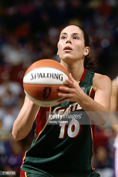 Sue Bird of the Seattle Storm takes a shot against the Sacramento Monarchs on June 21 2003 during a WNBA game at the Arco Arena in Sacramento...