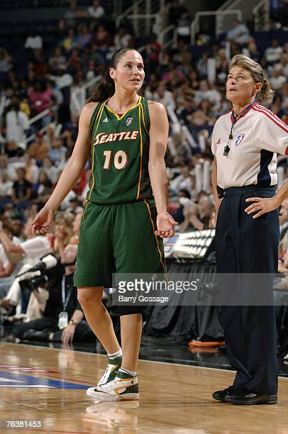 Sue Bird of the Seattle Storm talks with referee June Courteau in Game Two of the Western Conference Semifinals against the Phoenix Mercury during...