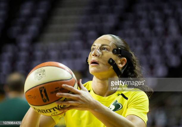 Sue Bird of the Seattle Storm warms up on the court before Game 2 of the WNBA Finals against the Washington Mystics at KeyArena on September 9 2018...