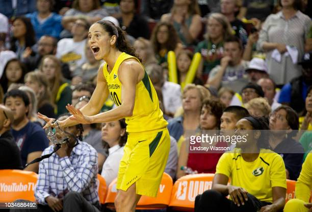 Sue Bird of the Seattle Storm yells from the bench during the second half of Game 2 of the WNBA Finals against the Washington Mystics at KeyArena on...
