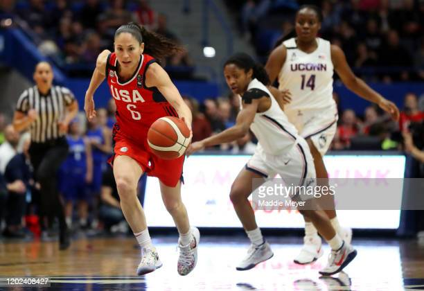 Sue Bird of the United States dribbles downcourt during USA Women's National Team Winter Tour 2020 game between the United States and the UConn...