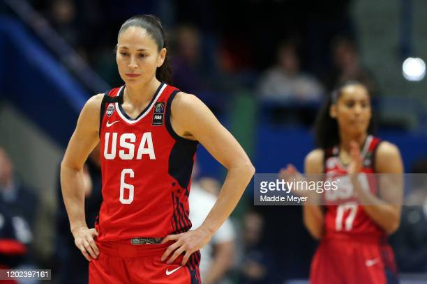 Sue Bird of the United States looks on during a shot clock violation call committed to honor former NBA player Kobe Bryant during USA Women's...