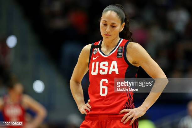 Sue Bird of the United States looks on during USA Women's National Team Winter Tour 2020 game between the United States and the UConn Huskies at The...