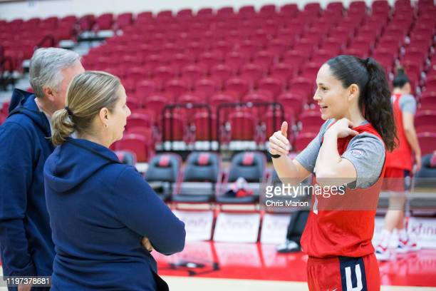 Sue Bird of the United States Women's basketball team talks with Cheryl Reeve during practice on January 26 2020 at the University of Hartford's...