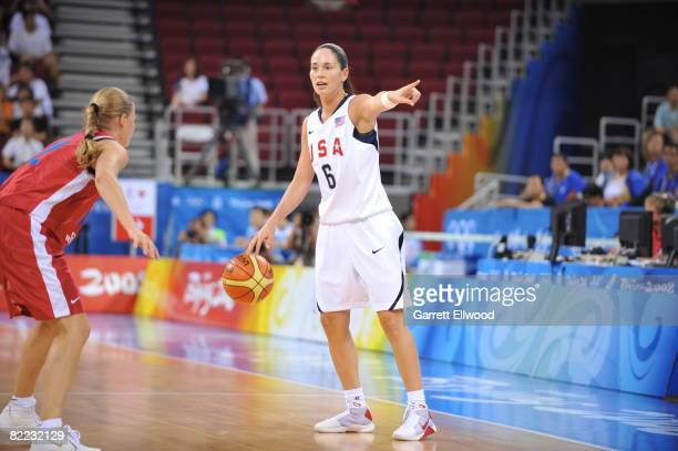 Sue Bird of the U.S. Women's Senior National Team calls out a play against the Czech Republic during day one of basketball at the 2008 Beijing Summer...