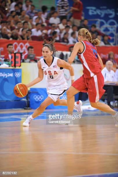 Sue Bird of the U.S. Women's Senior National Team drives against the Czech Republic during day one of basketball at the 2008 Beijing Summer Olympics...