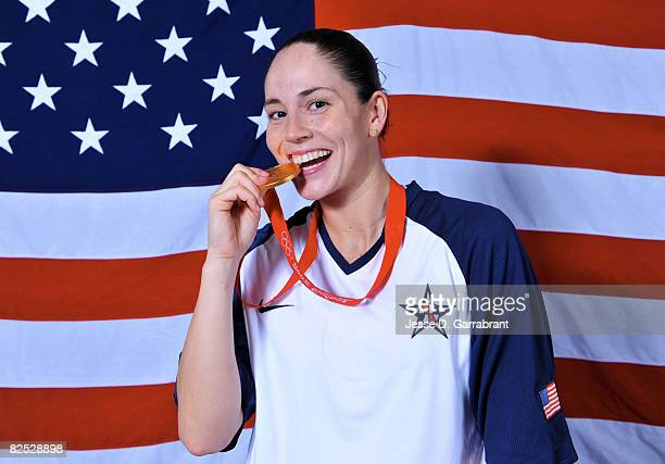 Sue Bird of the U.S. Women's Senior National Team poses for a portrait after winning the gold medal against Australia at the Beijing Olympic...