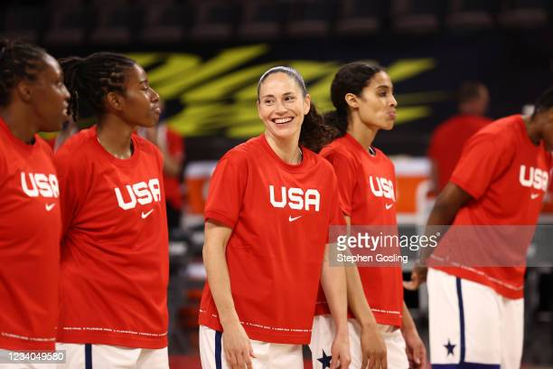 Sue Bird of the USA Basketball Womens National Team smiles before the game against the Nigeria Women's National Team on July 18, 2021 at Michelob...