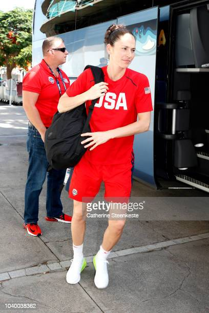 Aja Wilson of the USA National Team arrives before the game against the the Latvia National Team during 2018 FIBA Women's Basketball World Cup on...