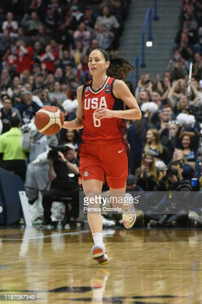 Sue Bird of the USA Women's National Team dribbles the ball against the UConn Huskies on January 27 2020 at XL Center in Hartford Connecticut NOTE TO...