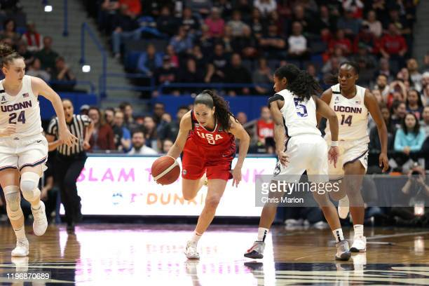 Sue Bird of the USA Women's National Team drives to the basket against the UConn Huskies on January 27 2020 at XL Center in Hartford Connecticut NOTE...