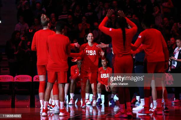 Sue Bird of the USA Women's National Team gets introduced before the game against the UConn Huskies on January 27 2020 at XL Center in Hartford...
